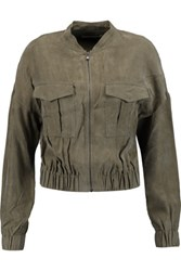 J Brand Santa Fe Washed Satin Jacket Army Green