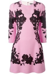 Dolce And Gabbana Rose Embroidered Dress Pink Purple