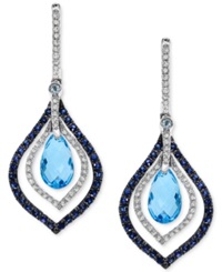 Effy Collection Effy Blue Topaz And Sapphire 4 5 8 Ct. T.W. And Diamond 1 3 Ct. T.W. Drop Earrings In 14K White Gold