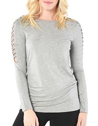 Kensie Drapey French Terry Top Heather Grey
