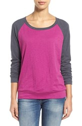 Women's Caslon Lightweight Colorblock Cotton Tee Purple Grey Colorblock