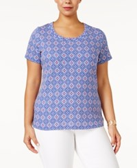Charter Club Plus Size Cotton Printed T Shirt Only At Macy's Modern Blue Combo