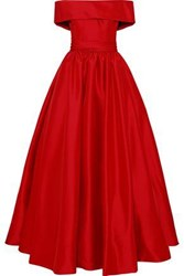 Reem Acra Woman Off The Shoulder Gathered Duchesse Satin Gown Red