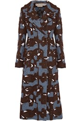 Marni Brushed Wool Blend Coat Dark Brown