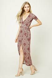 Forever 21 Wrap Front Maxi Dress Burgundy Tan