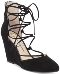 Jessica Simpson Jacee Lace Up Wedge Dress Sandals Women's Shoes Black
