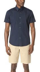 Theory Sylvain Short Sleeve Button Down Shirt Eclipse