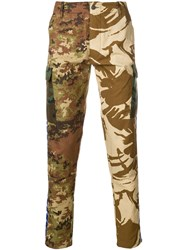 Paura Military Printed Trousers Nude And Neutrals