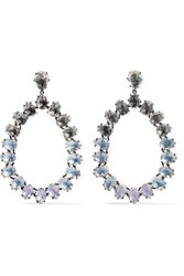 Larkspur And Hawk Caterina Large Rhodium Dipped Quartz Earrings Silver