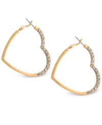 Guess Crystal Accented Heart Hoop Earrings Gold