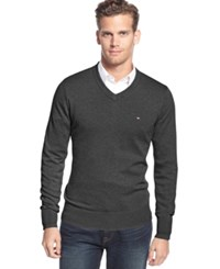 Tommy Hilfiger Big And Tall Signature Solid V Neck Sweater Asphalt Heather