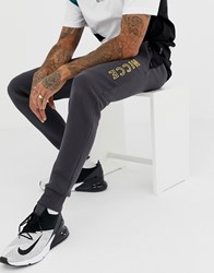 Nicce London Skinny Joggers In Grey With Contrast Panels