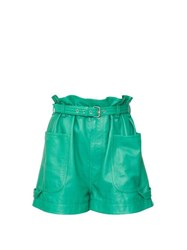 Isabel Marant Xike Belted Leather Shorts Green