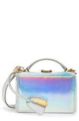 Mark Cross 'Mini Grace' Holographic Leather Box Clutch Metallic Silver Holographic