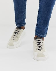 Selected Homme Leather Mix Trainers In White Black