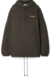 Balenciaga Oversized Embroidered Cotton Blend Fleece Hooded Top Charcoal