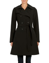 Diane Von Furstenberg Long Sleeve Double Breasted Trench Coat Black