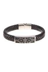 Jean Claude Cross Engraved Genuine Leather Bracelet Brown