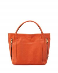 Neiman Marcus Double Zip Faux Leather Tote Bag Orange