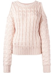 Balmain Cold Sleeve Cable Knit Jumper Pink Purple