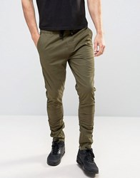 Brave Soul Zipped Skinny Chino Trousers Green