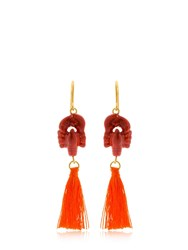 Nach Lobster Earrings With Tassels Coral