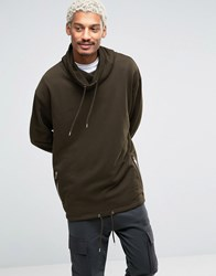 Asos Oversized Funnel Neck Sweatshirt With Drawstring Hem In Khaki Hunter Green