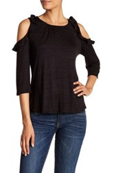 Gibson Ruffle Long Sleeve Cold Shoulder Shirt Black
