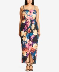 City Chic Trendy Plus Size Crossover Maxi Dress Blue Teal