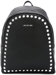 Love Moschino Silver Studded Backpack Women Polyurethane One Size Black