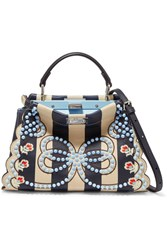 Fendi Peekaboo Mini Embellished Striped Leather Shoulder Bag Navy