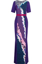 Peter Pilotto Belted Printed Crepe Gown Purple