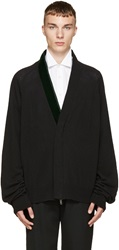 Haider Ackermann Black And Green Velvet Cardigan