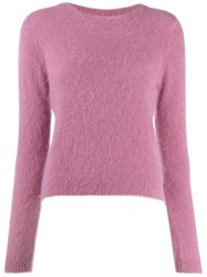 Bellerose Round Neck Fuzzy Knit Sweater Pink