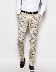 Sisley Floral Suit Trousers In Slim Fit Offwhite901