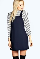 Boohoo Woven Pinafore Dress Navy