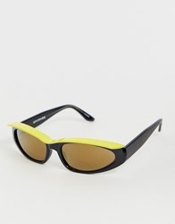 Spitfire Cat Eye Sunglasses With Yellow Visor In Black