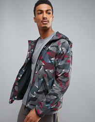 Perry Ellis 360 Running Jacket Linear Camo Print In Heritage Blue Heritage Blue