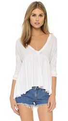 Pam And Gela Long Sleeve Shirred Tee Burnout White