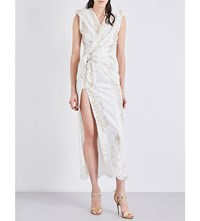 Alessandra Rich Padded Shoulder Floral Lace Midi Dress White Gold