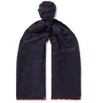 Alexander Mcqueen Fringed Wool And Silk Blend Jacquard Scarf Blue