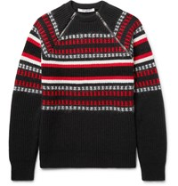 Givenchy Cuban Fit Zip Detailed Wool Blend Sweater Black