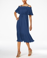 Thalia Sodi Off The Shoulder Fit And Flare Dress Only At Macy's Tartan Blue