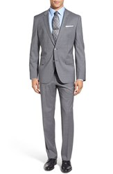 Boss Men's 'Huge Genius' Trim Fit Check Wool Suit Light Grey