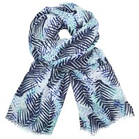 John Lewis Jungle Leaves Print Scarf Navy Mint