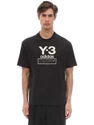 Y 3 Stacked Logo Cotton Jersey T Shirt Black
