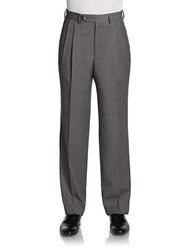 Saks Fifth Avenue Black Spencer Pleated Wool Trousers Grey