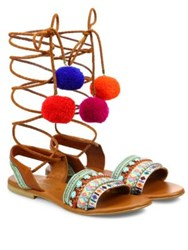 Elina Linardaki L.A. Lover Embroidered Leather High Wrap Sandals Multi