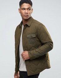 Esprit Wool Shirt Jacket With Quilted Lining Khaki 350 Green