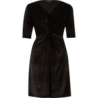River Island Womens Black Sparkly Velvet Knot Skater Dress